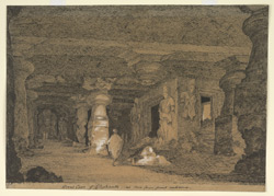'Great Cave of Elephanta, as seen from front entrance.  G. Ridge.  March 1829'